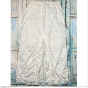 Vtg Half Slip Long Nylon Lace Ivory Zipper Slit M